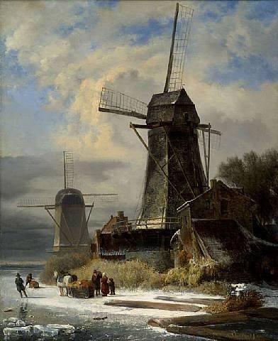 Andreas Schelfhout - Winter Landscape with Mill (1834)