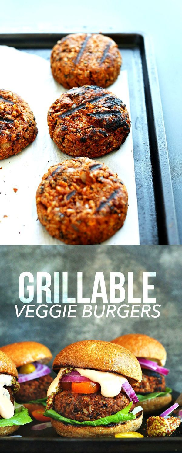 AMAZING Grillable Veggie Burgers with fluffy brown rice, black beans, walnuts and spices! A vegetarian idea for a summer BBQ.