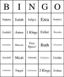 Old Testament Books Bingo Cards