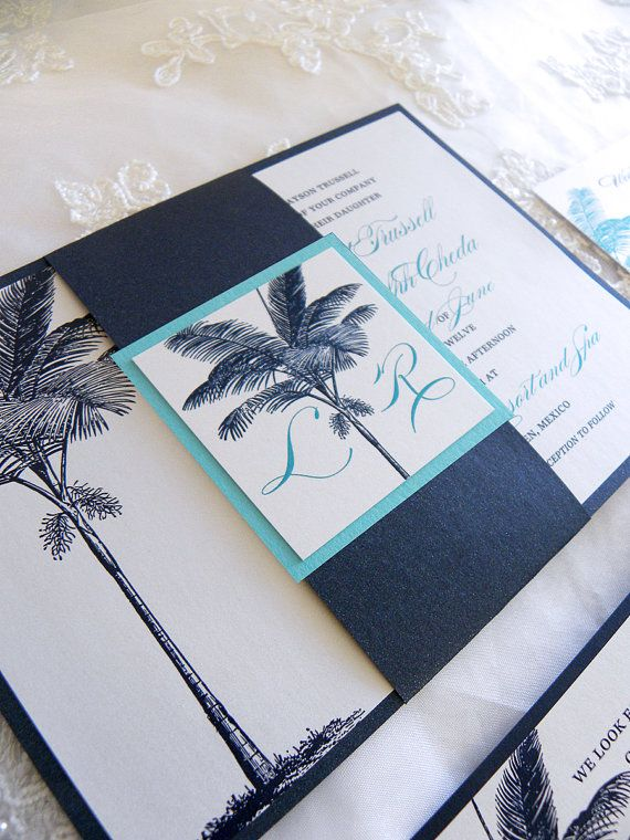Navy Blue & Turquoise - Destination Beach - Palm Tree - Layered Wedding Invitations