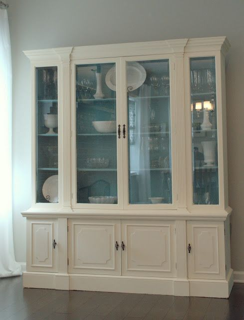 Annie Sloan China Cabinet Makeover In Old White and Provence
