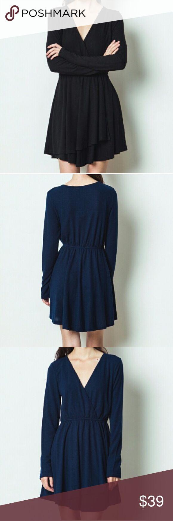 Black wrap dress Long sleeve black knit dress. 100% polyester. Black only. ✨✨✨ Dresses Midi