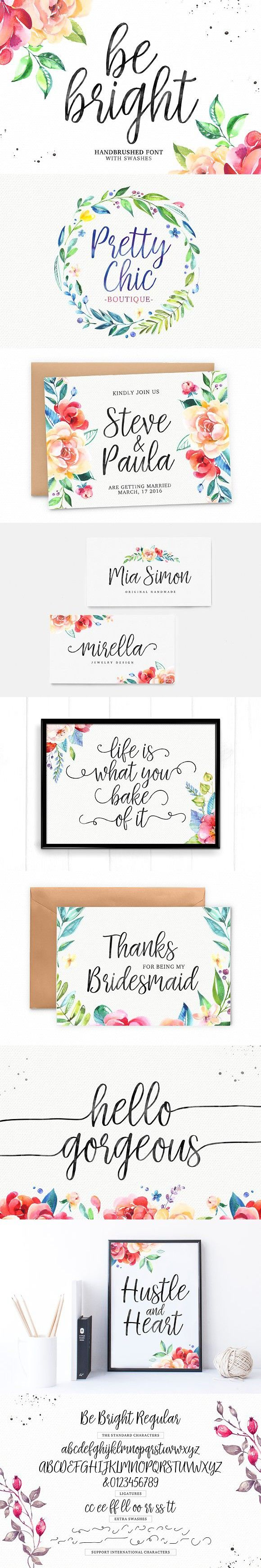 Be Bright + Swashes. Wedding Card Templates