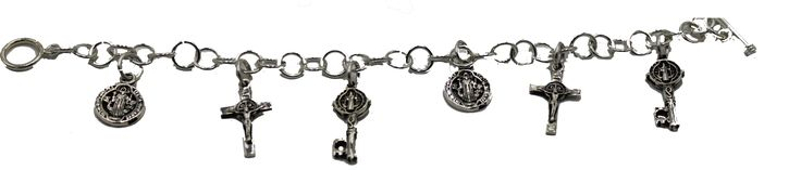 San Benito Key Charm 7 inch Bracelet .925 Sterling Silver - St Benedict .925 Silver