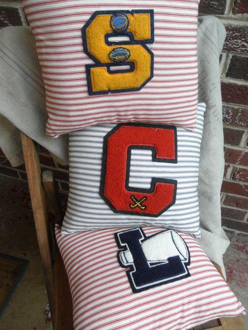 Varsity Pillows. Cute idea for a boys room.