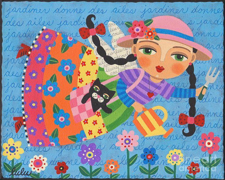 Gardening Angel Canvas Print Art By LuLu Mypinkturtle