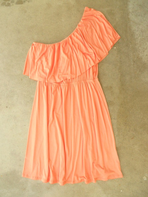 i love this peachy color! -- Sweet Ruffled Apricot Dress