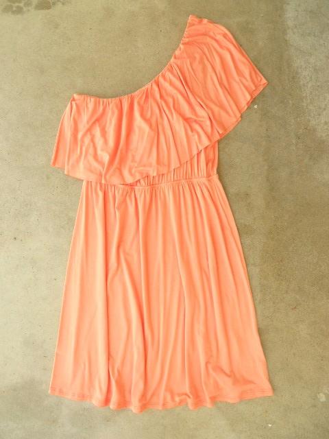 .: Summer Dresses, Affordable Summer, Sweet Ruffles, Apricot Dresses, One Shoulder Dresses, Dresses Vintage, Ruffles Apricot, Brown Belts, Inspiration Clothing