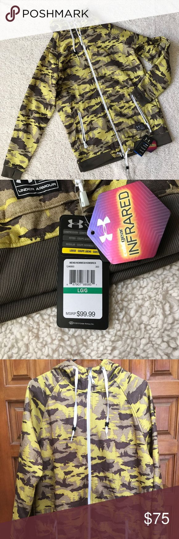 🎉SALE🎉 HUNTERS UNDER ARMOUR COLD GEAR INFRARED Men's size Large CAMMO Hunting Full Zip Under Armour Cold Gear Infrared Jacket/Hoodie!  Smoke free pet free home.  Ships in 24hrs with tracking number!  Cross Posted! Under Armour Jackets & Coats