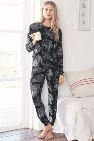 Buy Black Floral Print Pyjamas from the Next UK online shop