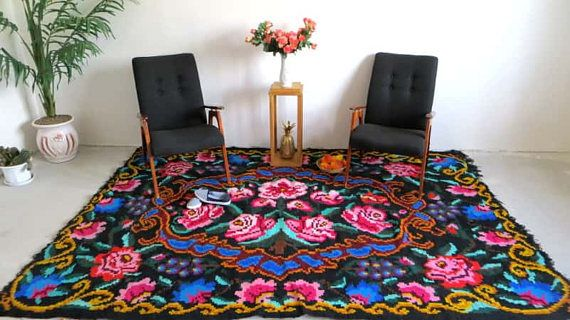 Tapis kilim moldave blauwe Perzisch tapijt vintage Turkse