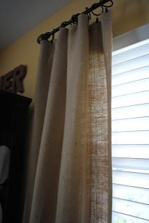 Naptime Decorator: No-Sew Burlap Curtains