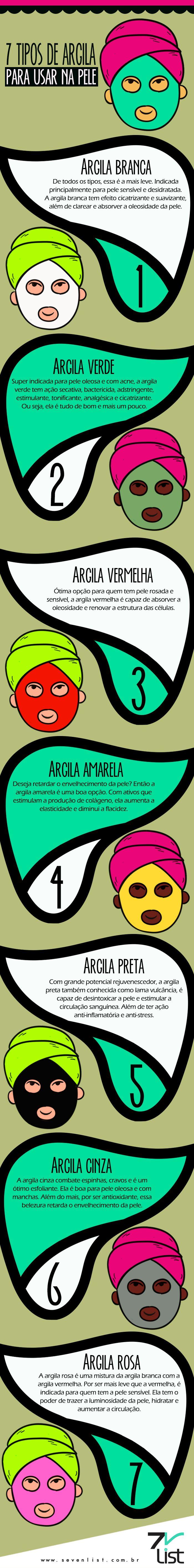 #SevenList #Blog #Brasil #Infográfico #Art #Beauty #Pele #Scin #Beleza #Argila #Argiloterapia #Rosto #Corpo #Boaforma #Saúde