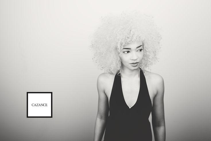 Platinum blonde afro curly natural big hair 3c (black and white shot)