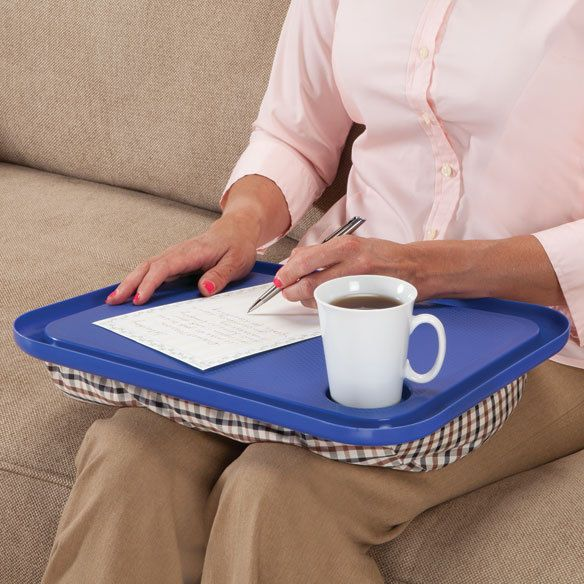 Snack Tray Desk Lap Table W Cup Holder Portable Stable Cushioned Beanbag Support Na Lap Table Lap Desk Cheap Desk Chairs