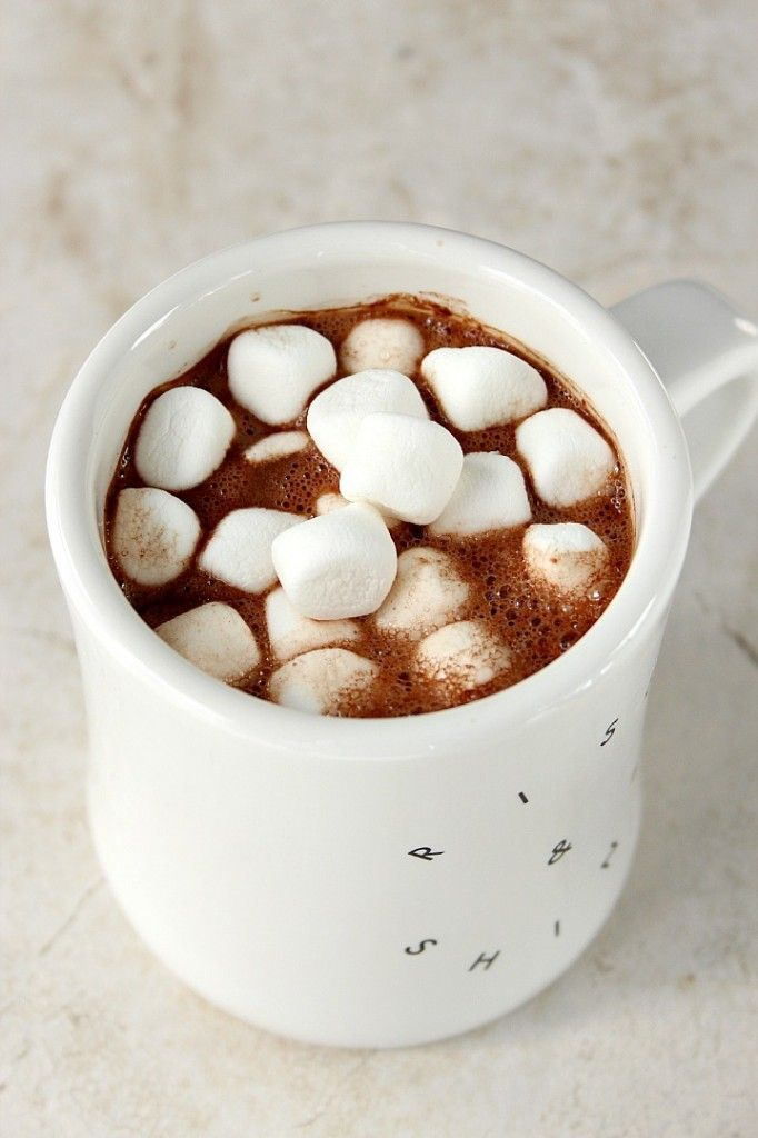 Homemade Hot Chocolate Mix recipe - a handful of ingredients mixed in a blender make this homemade hot chocolate mix irresistible! Our whole family loves it!