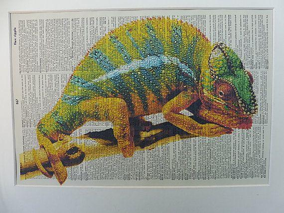 Chameleon Dictionary Wall Art Print No.383 the by DecorisDesigns