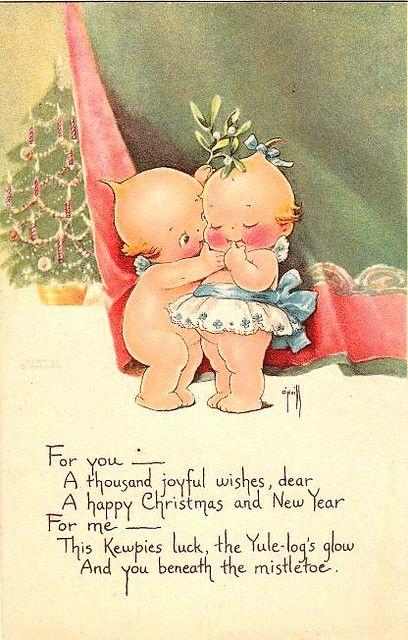 kewpie  | Vintage Postcard ~ Kewpie Mistletoe | Flickr - Photo Sharing!