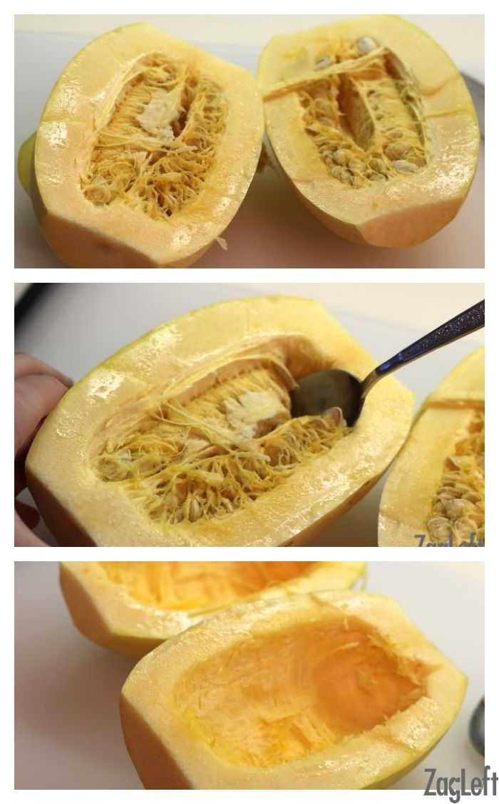 How To Cook Spaghetti Squash - cut in half, sprinkle olive oil, salt, pepper, roast cut side down on tray at 400degF for about 35-40 min. After cooling down, use fork to separate 'noodles'.  (With Instant Pot, can put the WHOLE squash on top of rack, 1 c water, 25 minutes high pressure, natural release 10.