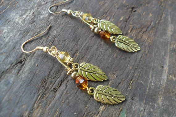 Autumn Leaves Dangle Earrings Amber & Citrine Swarovski by ReActiv, $12.50