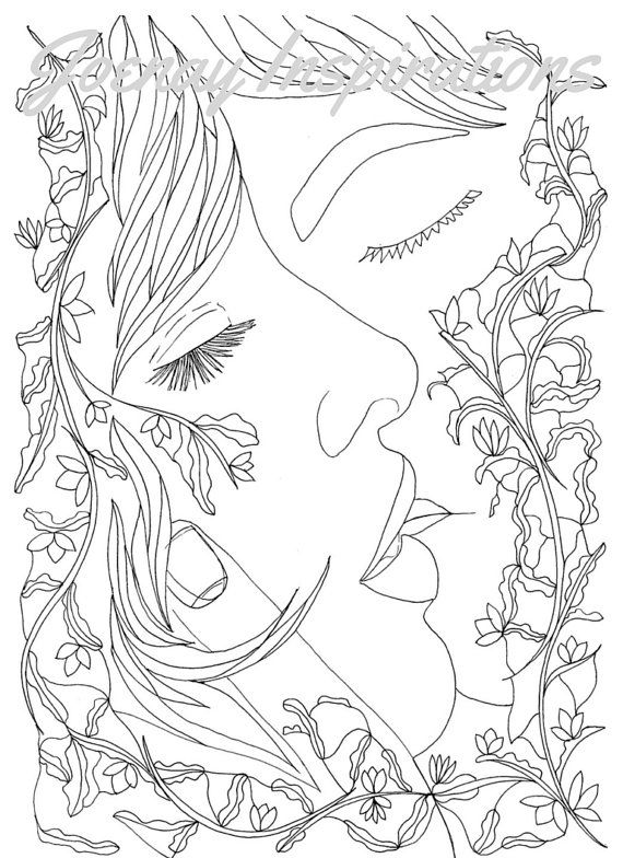 Adult Coloring Book, Printable Coloring Pages, Coloring Pages, Coloring Book for Adults, Instant Download, Loving Couple page 5
