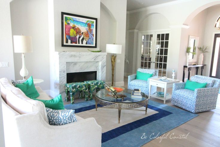 Colorful Florida living room in blues and greens @ Be Colorful Coastal