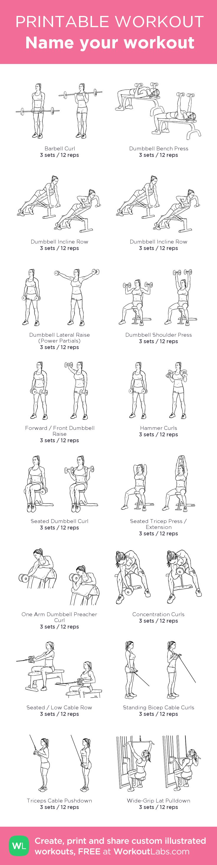Upper Body:my custom printable workout by @WorkoutLabs #workoutlabs #customworkout