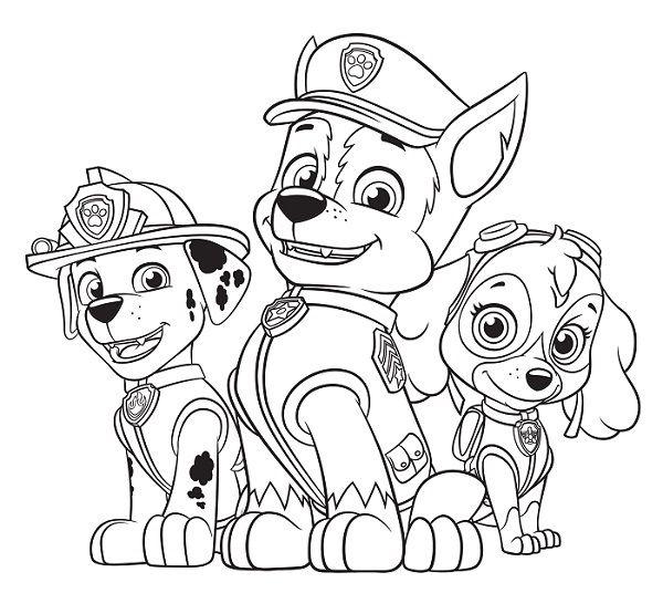Coloriage et dessin Pat Patrouille - Coloriage de Chase Marcus et Stella