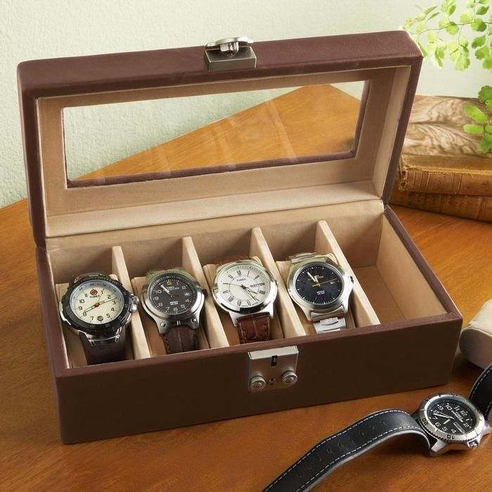 Personalized Royce Leather Watch Box Valet Case $130 [This is way over-priced, but a watch-box made of wood or leather that holds 4-5 watches would be very useful]