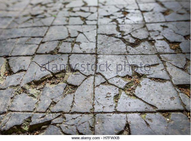 Old Victorian Cracked And Broken Tiled Floor Stock Image