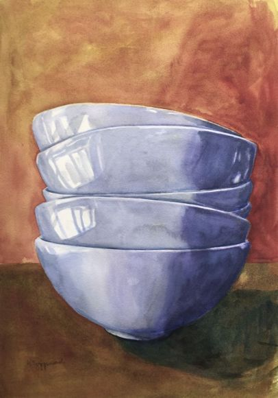 Bowls with brown background
