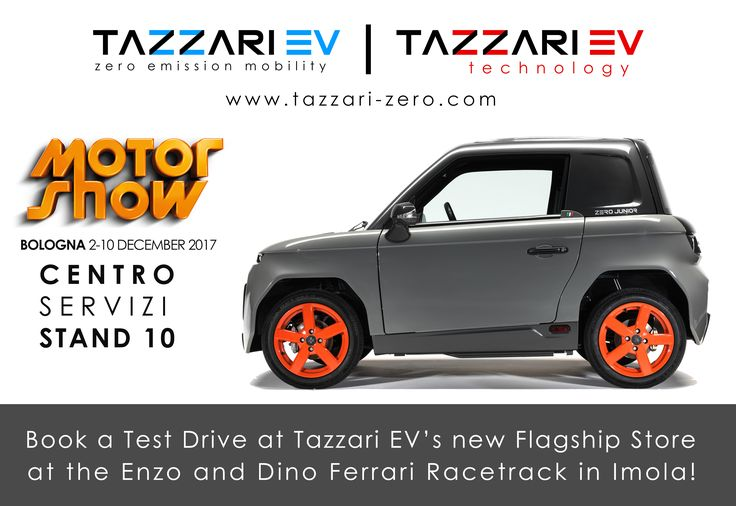 MOTOR SHOW BOLOGNA 2-10 December 2017  Saturday, December the 2nd, it's the opening of Motor Show in Bologna, this year Tazzari Zero electric vehicles will be the Safety Car in the legendary Area 48!  In addition, you will have the chance to see Zero Junior at Centro Servizi - Stand 10 and to book a test drive in the new Tazzari EV's flagship store inside the Enzo and Dino Ferrari Racetrack in Imola, don't miss it!  #TazzariEV #MotorShow2017 #Tazzari #urbanmobility #MotorShow #electriccar…