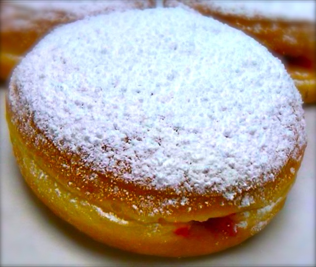 Psycho Psufganiyot - the reform version.  Only around Hanukah, and ONLY at Psycho Donuts! Copyright Psycho Donuts, All Rights Reserved.