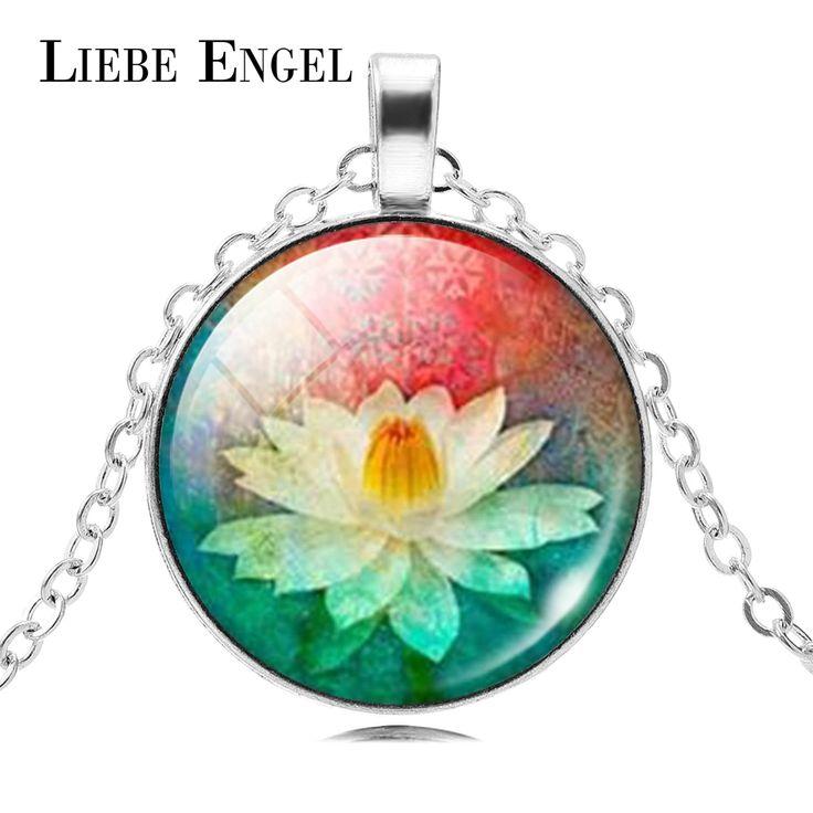 LIEBE ENGEL Mandala Lotus Flower Necklace Pendant Om Symbol Buddhism Zen Glass Jewelry Vintage Silver Color Chain Choker 2017