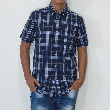 Camisa Sonoma manga corta con bolsillo a cuadros azul oscuro