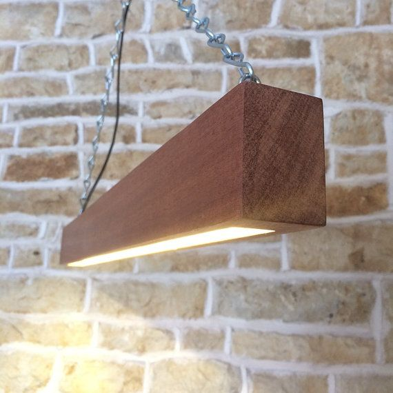 Solid Wood LED Beam Light Suspended Minimalist Modern Bar Table Long Hanging Ceiling Pendant Contemporary Light Exotic