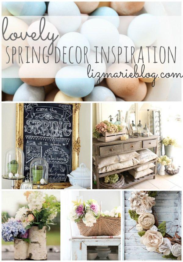 Lovely spring home decor inspiration. A must pin for spring decor DIYs & decorating - lizmarieblog.com