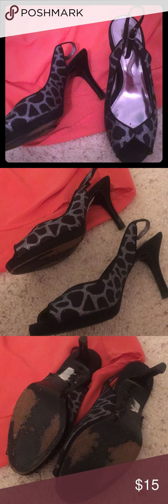 Silver and Black Cheetah Heels 6.5, gently worn on special occasions.  Comfortable for stilettos.  Cute peak toe. Shoes Heels