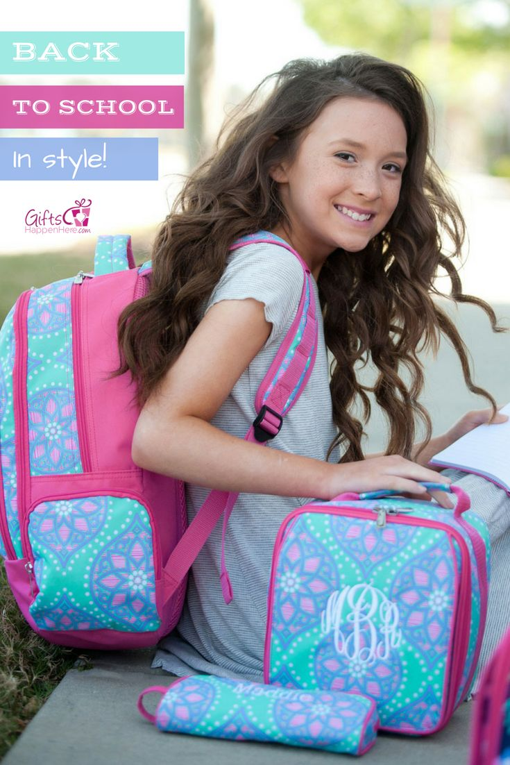 Send her back to school in style! Personalized Backpacks, Lunch boxes, and pencil cases in cute patterns for kids! Shop at https://www.giftshappenhere.com/collections/occasion-back-to-school - Personalized Backpack / Monogrammed Backpack / Backpacks for teens / Kids Backpack / Back to School / Backpacks for School / Backpack for Kids / Backpack Kids Girl / Paisley Backpack / Boho Backpack