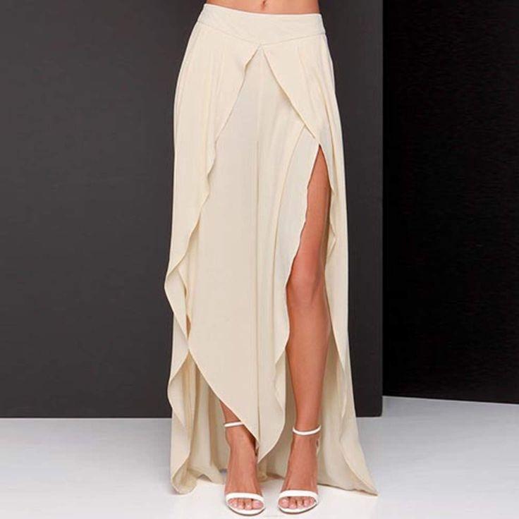 Beige High-Waisted Asymmetrical Chiffon Skirt