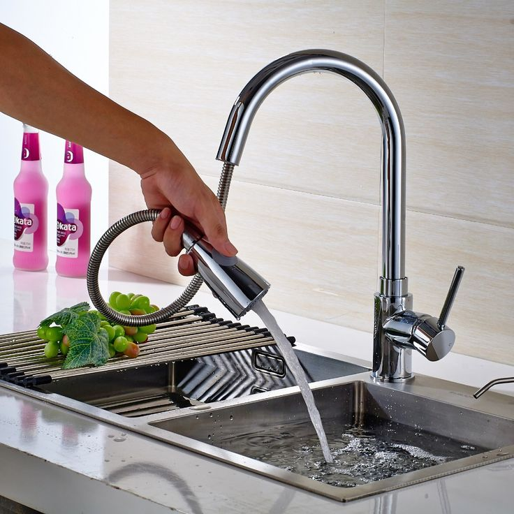 Koyar Solid Brass Chrome Finish Swivel Body Pull Out Sprayer Kitchen sink Mixer Tap Hot  Cold Water Single Handle Basin Faucet