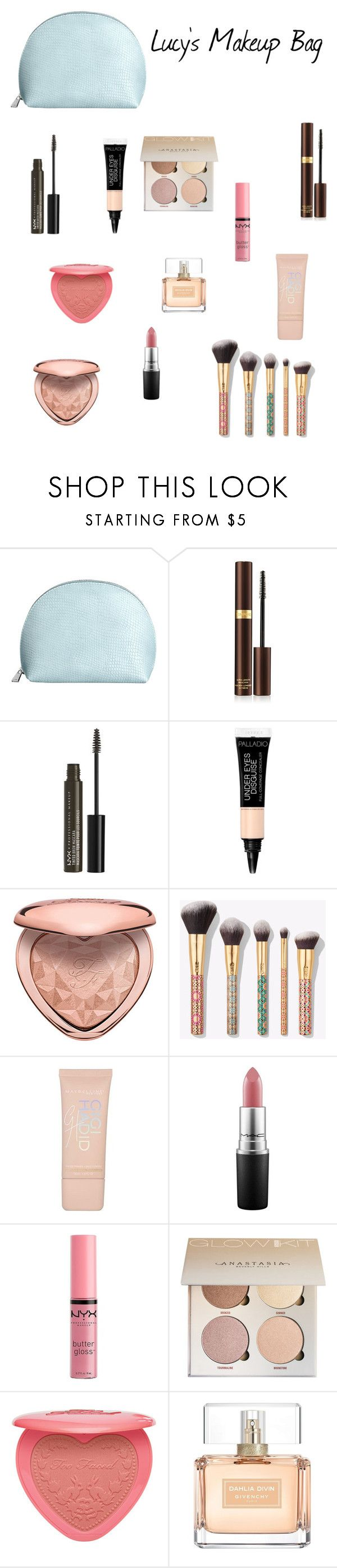 """Lucy's Makeup Bag"" by londonblossom ❤ liked on Polyvore featuring beauty, Tom Ford, NYX, Too Faced Cosmetics, tarte, Maybelline, MAC Cosmetics, Charlotte Russe and Givenchy"