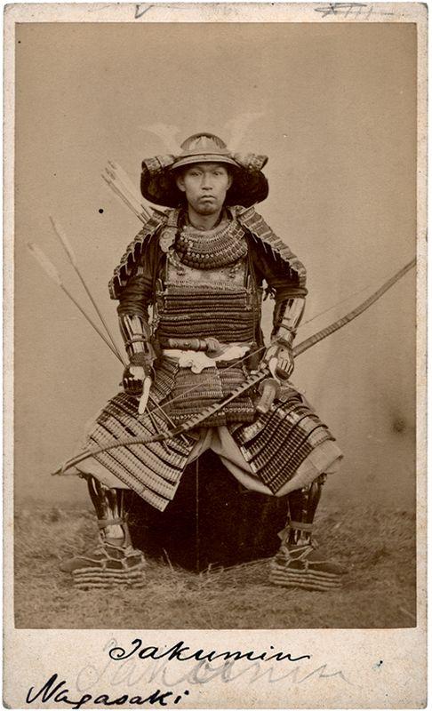 Ueno Hikoma, samouraï, portrait carte de visite, coll. Hubert Bidault.  about 1860.  One of the first photos of a samurai...