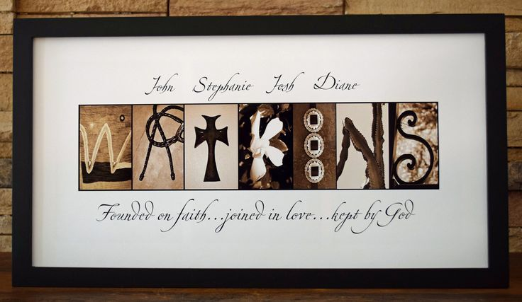 "Faith, Love and God - Framed Photo Letter Art - Personalized Alphabet Photography - Custom Name Sign. * Personalized custom FRAMED photo letter artwork. * Black wood composite and glass frame ready for display and can be mounted on wall or placed on a desk. * Approx. 17"" x 9"". * Customized with a name in photo letters (Southwestern style shown here) and individual names above the photo letters. * White background with text in black. You have the option to choose full color, black and…"