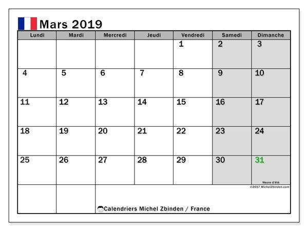 Calendrier De Mars 2019.Calendrier Mars 2019 France Calendrier Avril Calendrier