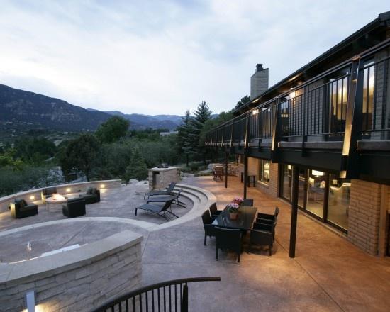 Love this outdoor space!: Patio Design, Remodel Ideas, Decor Ideas, Modern Exterior, Outdoor Fireplaces, Stairs Design, Fireplaces Outdoor, Outdoor Spaces, Design Group
