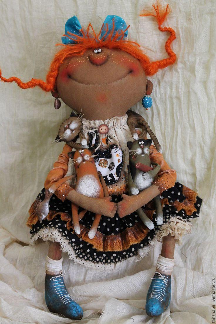 Купить Кискомания... - комбинированный, текстильная кукла, ароматизированная кукла, интерьерная кукла, котики, ткань, синтепух