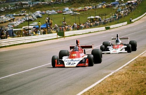 """Ian Scheckter (Tyrrell) and Dave Charlton (Mclaren) in GP of South Africa 1975. """