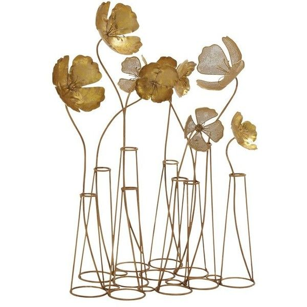 Gold Metal Flower Table Wall Decor 310 Pen Liked On Polyvore Featuring Home Home Decor Wall Art Flo Metal Flowers Decorative Sculpture Flower Sculptures