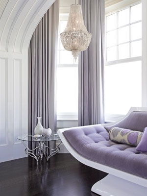 Lilac Grey Curtains On Dark Wood Floor